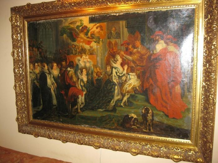 ORIGINAL OIL PAINTING of THE WEDDING OF CATHERINE DE MEDICI and HENRY IV