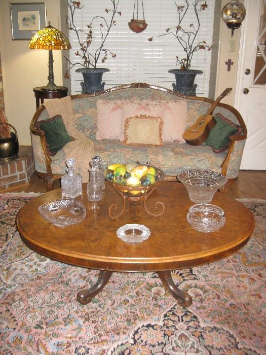 ANTIQUE FRENCH TABLE CONVERTED TO COFFEE TABLE