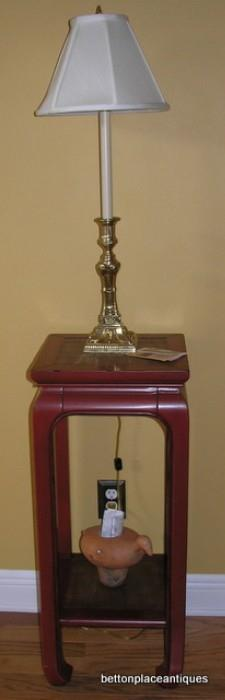 Asian Style Lamp Stand with Baldwin Brass Lamp