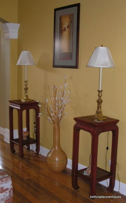 Two Asian Design Modern Endtables/Solid Brass Lamps