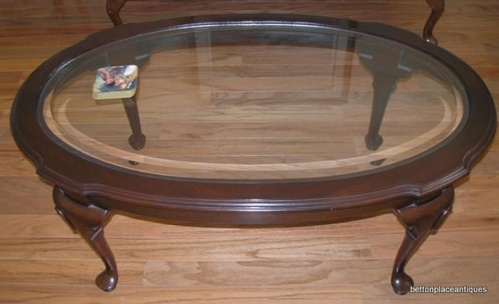 Ethan Allen Coffee Table bevelled Glass Top