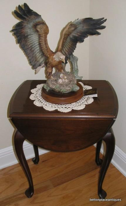 Capidimonte Giovanni Pennati Eagle on Nest with Little Ones/Mahogany Drop leaf Endtable