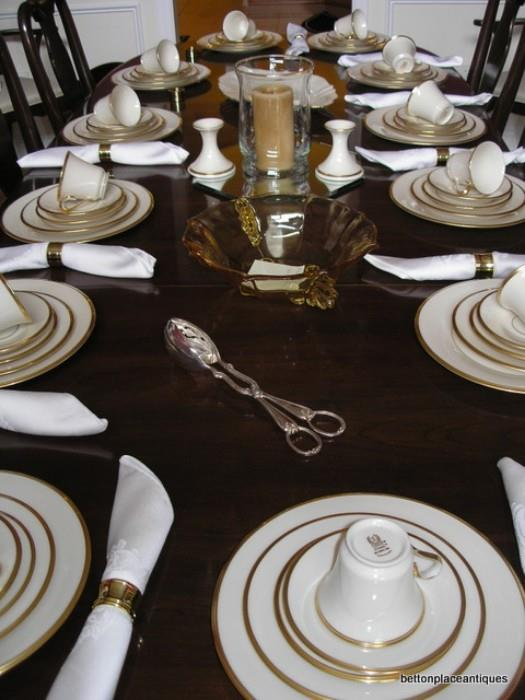 Lenox Eternal Dinner set/Baldwin Brass Napkin rings