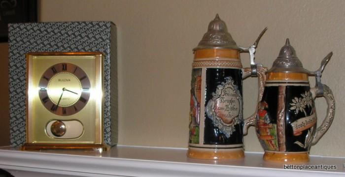 German Steins , Bulova Clock