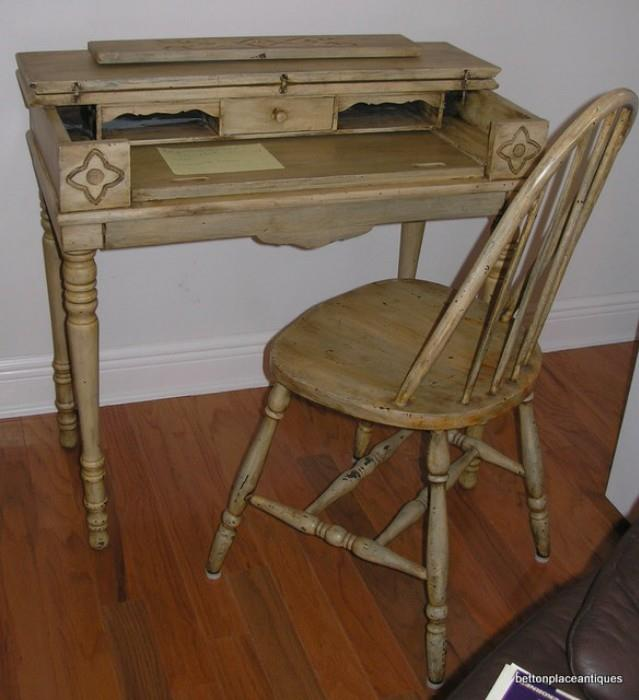 Re purposed Leavenworth antique Desk and Chair