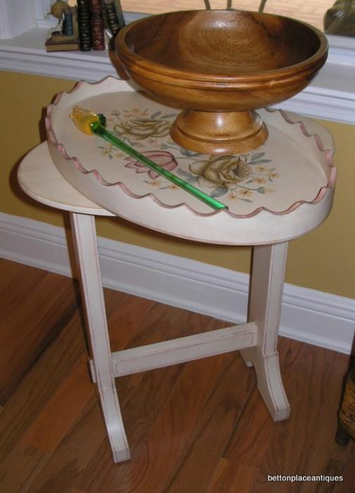 Painted Table with Glass Flower, wooden bowl