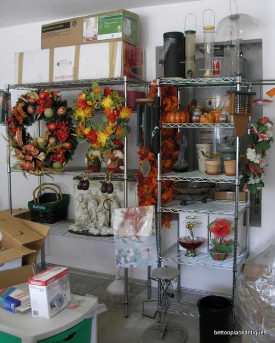 Holiday items, Racks, feeders and more