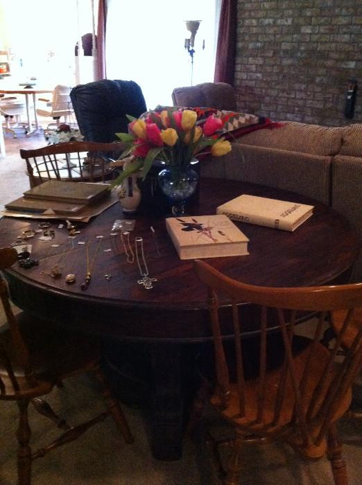 another round antique table; 6 hard rock maple chairs