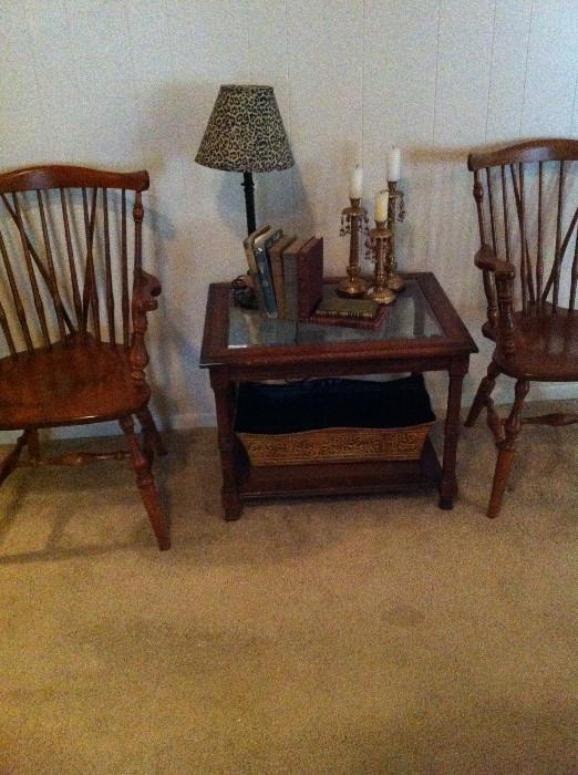 2 or the 6 hard rock maple chairs; side table