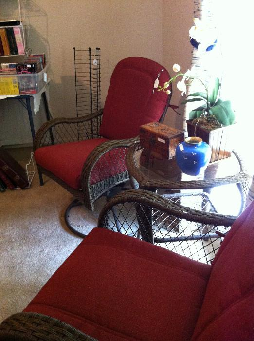 """2 """"wicker-like"""" and table set"""