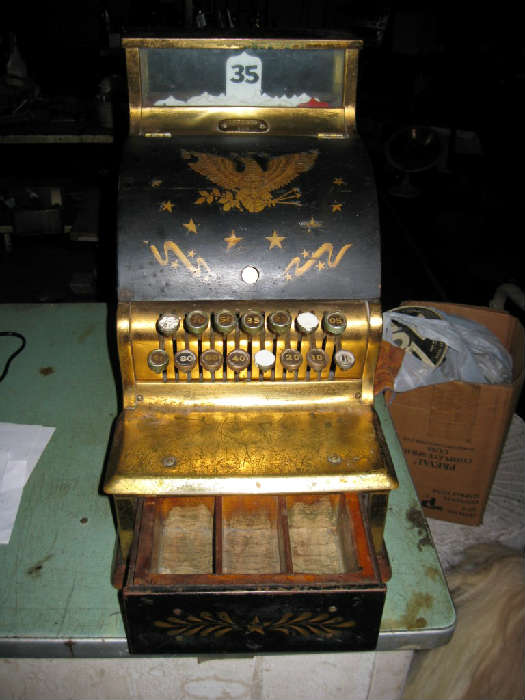 100 YR. OLD BRASS CASH REGISTER