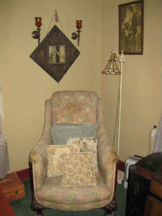 "ANTIQUE COPPER ""REMEMBER THE MAINE"" TOLE MIRROR, ANTIQUE FLOOR LAMP, OLD PAW FOOTED UPHOLSTERED CHAIR"