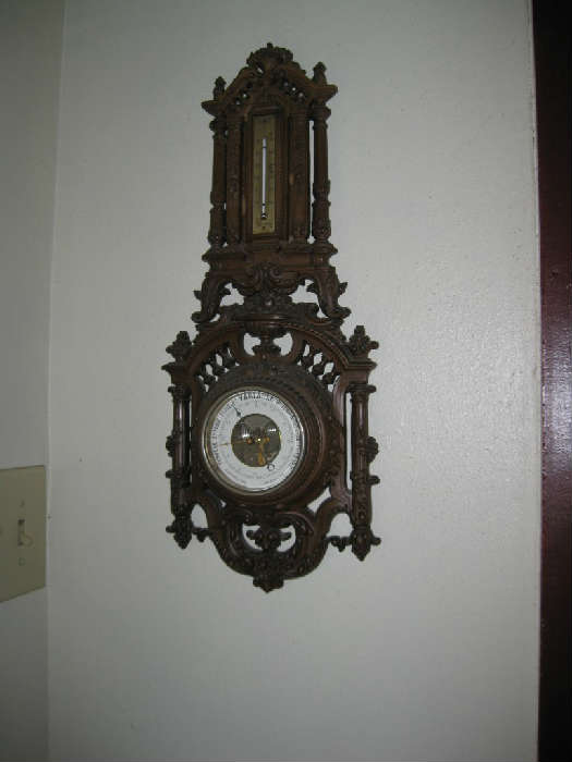 ANTIQUE BAROMETER with PORCELAIN FACE and WOOD CASE