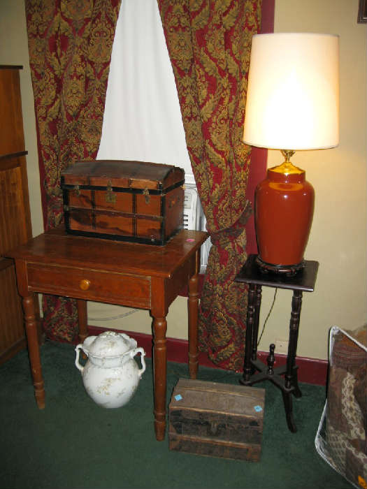 ANTIQUE SALESMAN SAMPLE TRUNKS, ANTIQUE ENGLISH CHAMBER POT, ANTIQUE OAK LAMP TABLE with DRAWER