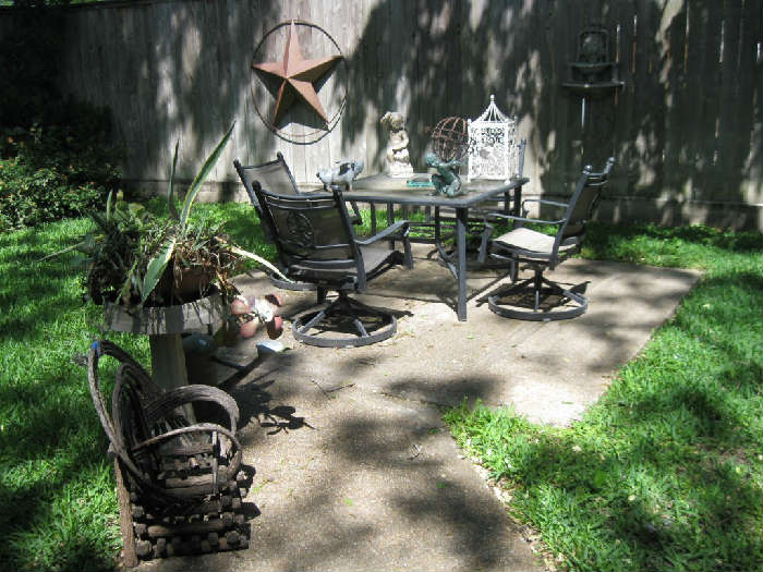 NEWER PATIO TABLE with 4 SWIVEL CHAIRS VARIOUS YARD ITEMS
