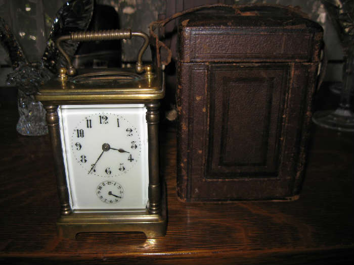 LATE 1800's FRENCH CARRIAGE CLOCK with ORIGINAL CASE & STRAP...WORKING CONDITON