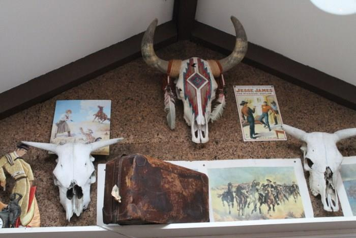 Cow Skulls, Western Art, old leather luggage