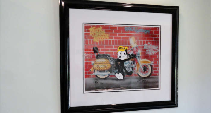 Limited edition # 97 of 400 recreation from the original art of Joe Oriolo of a cell from Felix the Cat cartoon signed by the artist in Crown City Estate Sale @ www.crowncityestatesales.com