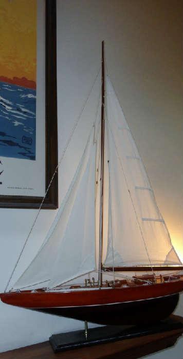 vintage pond boat sailing ship