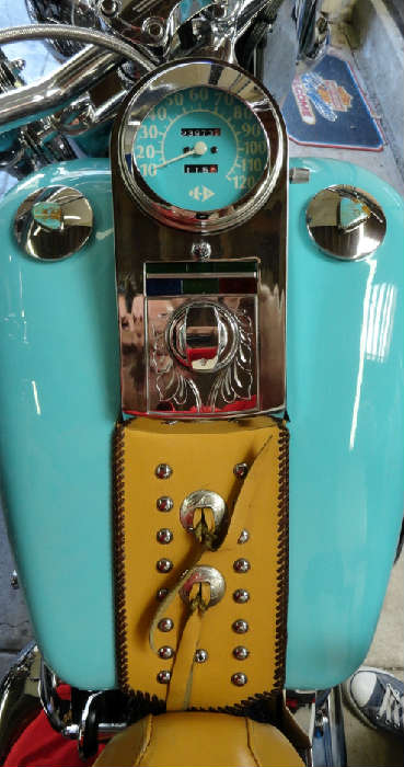 Beautiful turquoise painting gas tank on Vintage tricked out customized southwestern style Harley Davidson motorcycle with 23,973.2 original miles @ www.crowncityestatesales.com.