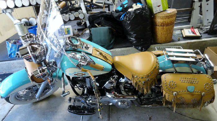 Vintage tricked out customized southwestern style Vintage tricked out customized southwestern style Harley Davidson motorcycle with 23,973.2 original milage, we will be allowing presale looks by appointment for cars and motocycles only please email crowncty@aol.com