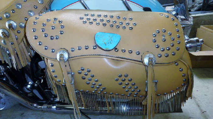 Incredible custom leather saddle bags decorated with turqoise and studs on Vintage tricked out customized southwestern style Harley Davidson motorcycle with 23,973.2 original miles @ www.crowncityestatesales.com.