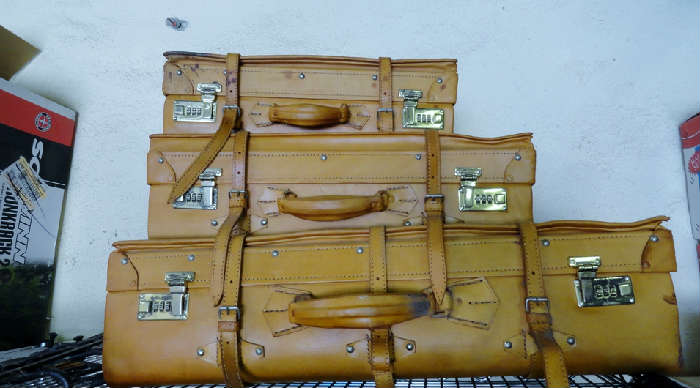 great leather vintage luggage