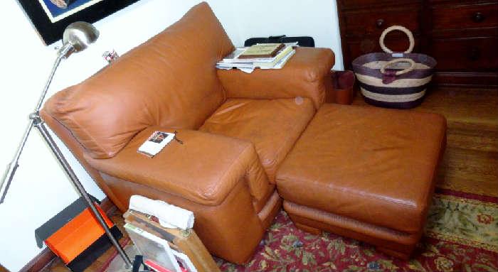 nice leather chair, sofa and ottoman's