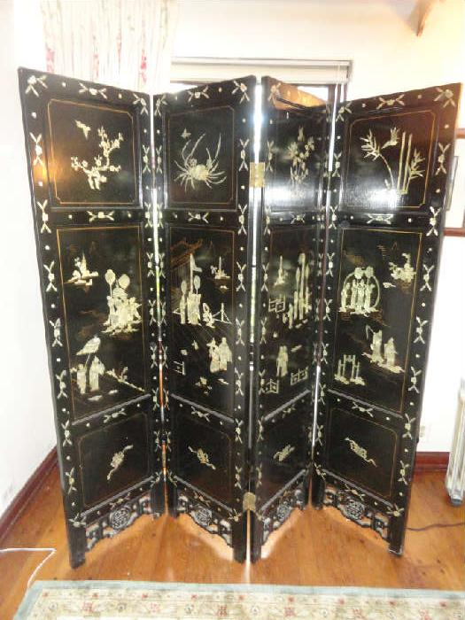 vintage 4 panel asian screen with mop inlay