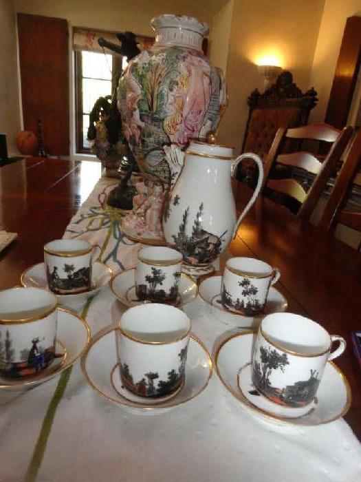 fabulous antique handpained coffee set