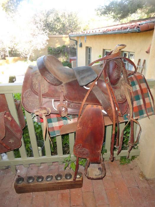 nice old handtooled sadle