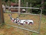 cut metal whale art gate