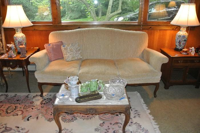 Assorted Furniture, including Sofa, Coffee Table, & Lamps