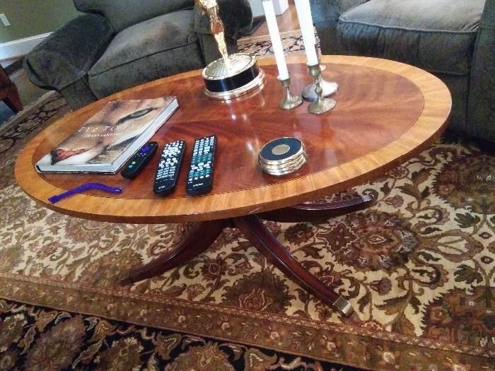 Ethan Allen banded mahogany coffee table