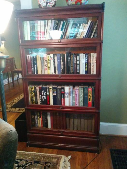 Antique barrister bookcase, with four cases and wavy glass - not a repro