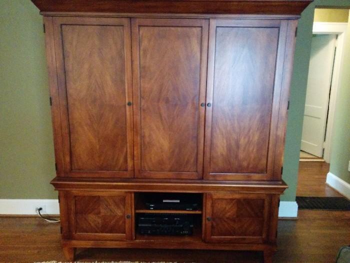 Custom made, solid wood media center, by Romweber http://www.romwebermarketplace.com/history