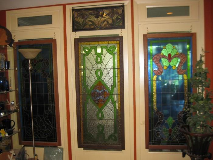 MANY STAINED GLASS WINDOWS...BOTH OLD & NEW