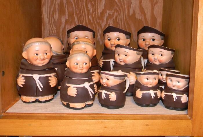 Goebel Friar Tuck pitchers, sugar bowls, condiment set (not shown)