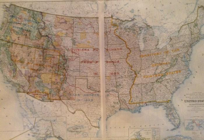 """US Dept of the Interior map, 1953.  88"""" X 64"""" printed on 2 maps."""