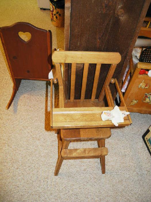 Antique baby doll high chair
