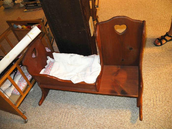 "Antique ""Mammy's chair"" for little girl and her doll!"