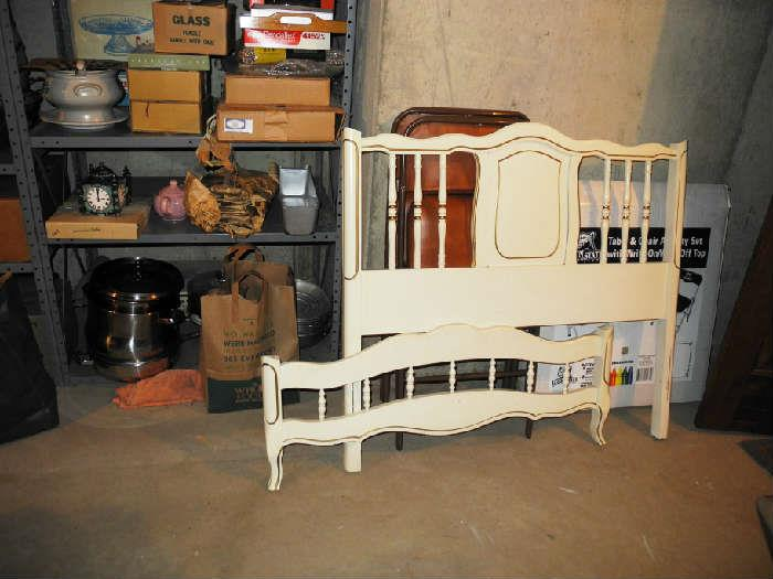 Lovely white w/gold trim single bed with side rails also
