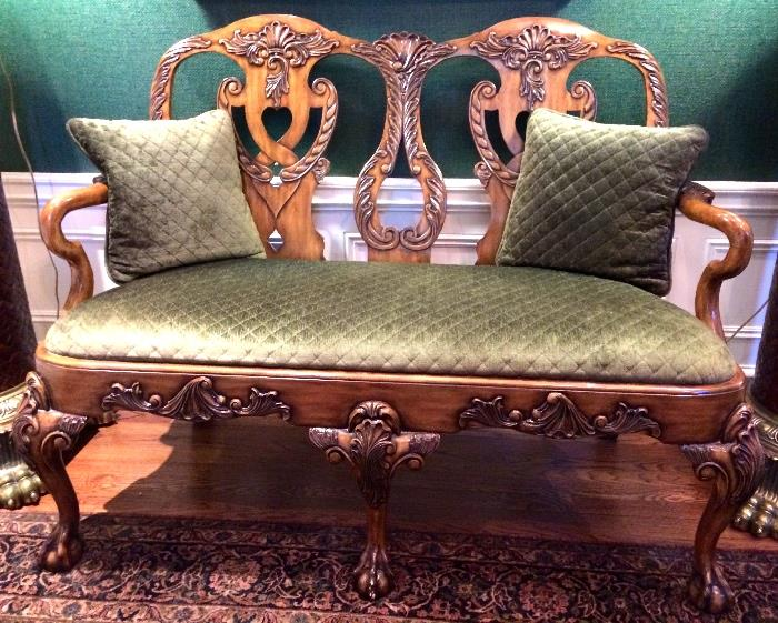 Maitland Smith Carved Bench with Green Quilted Velvet Seat with 2 Pillows