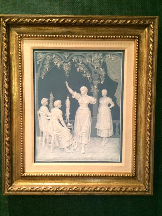 "Minton Pate Surpate Porcelain Plaque, Signed, c. 1870 (15-1/2"" x 12"")"