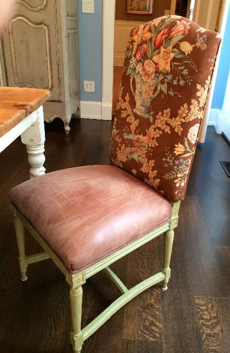 (2) Upholstered Side Chairs Floral and Leather