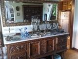Spanish style sideboard, set of three grendalines under, large mirror