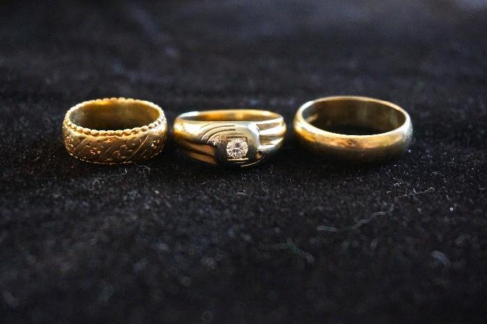 3 vintage wedding bands ..all gold