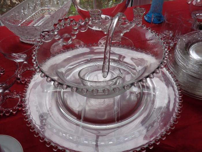Lots of candlewick in this sale .. punch bowl w/underplate and dipper