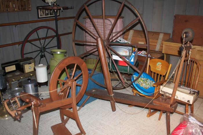 Spinning wheels - this photo is before we organized