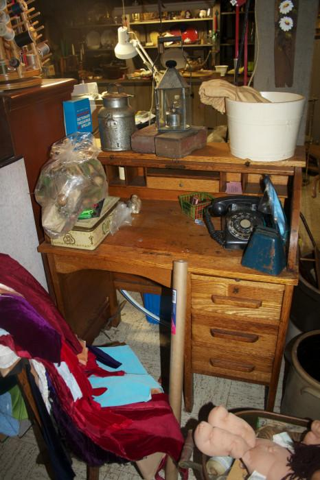 This is a before picture - in the basement a great old roll top desk - sorry for the mess!